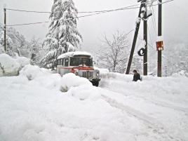 Snow falls in the Adjara region of Georgia, winter 2013-14.