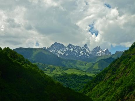 The high mountains of the Khevsureti region of Georgia.